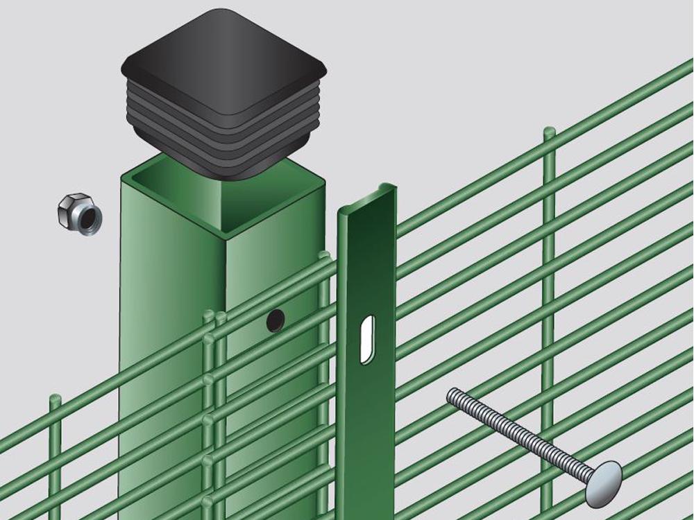Anti-vandal post locking system for 358 mesh