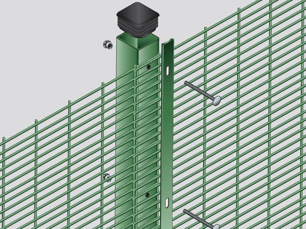 358 Flat mesh prison mesh post system