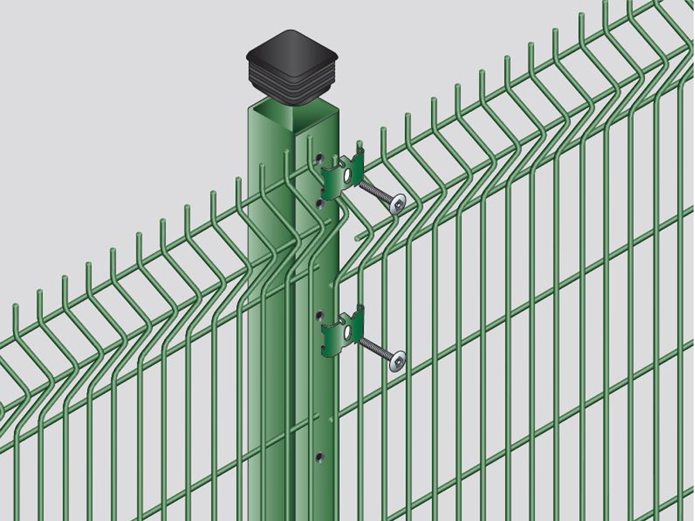Complete V Mesh and post system making a secure security fencing